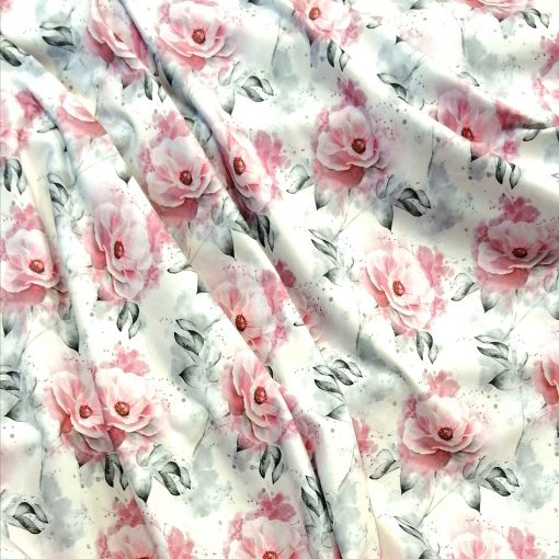 Tela de punto de algodón rosas