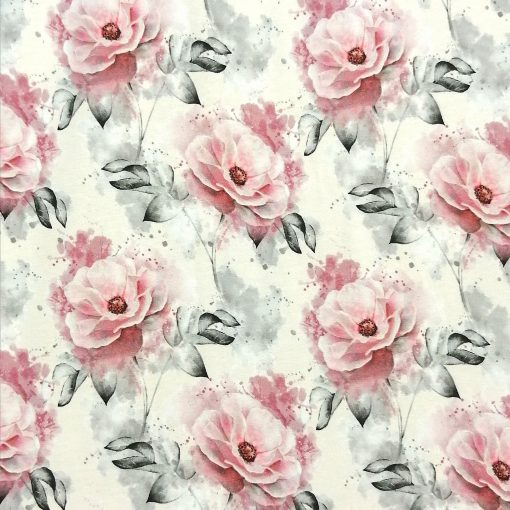 Tela de punto de algodón estampada de rosas