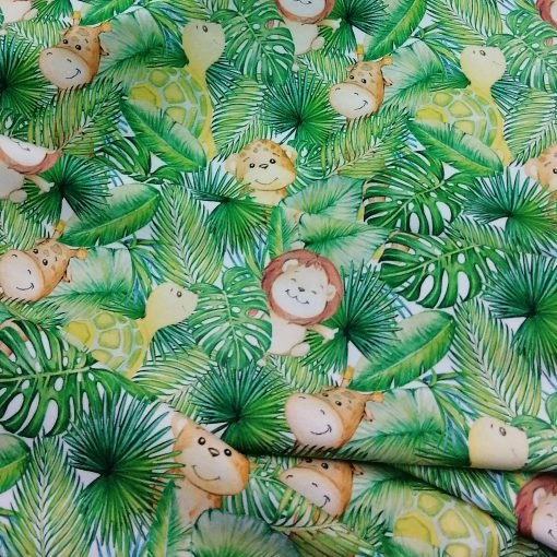 Tela de punto de algodón infantil selva