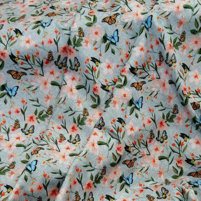 Tela de punto de algodón mariposas
