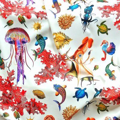 Tela de terciopelo estampado animales marinos